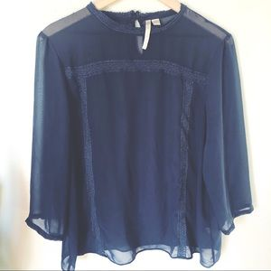 Gorgeous LC Lauren Conrad Navy Blue Sheer Blouse